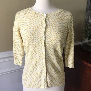 Merona 3/4 sleeve cardigan polka dot yellow